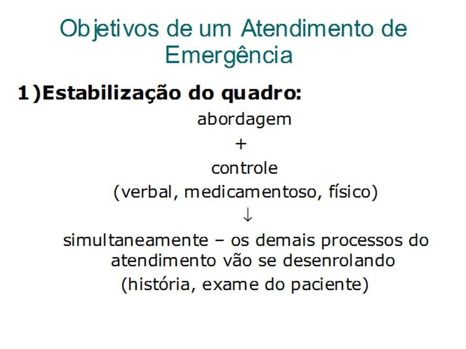 Objetivos de um Atendimento de Emergência 1)Estabilização do quadro: abordagem + controle (verbal, medicamentoso, físico) simultaneamente – os demais