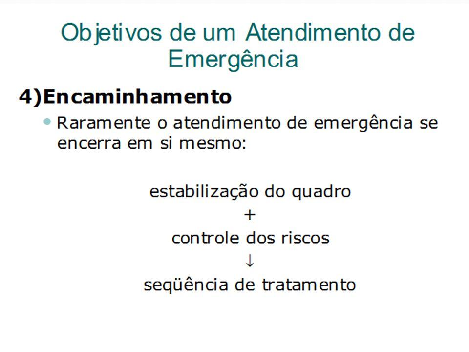 Objetivos de um Atendimento de Emergência 4)Encaminhamento Raramente o atendimento de emergência se encerra em si mesmo: estabilização do quadro + con