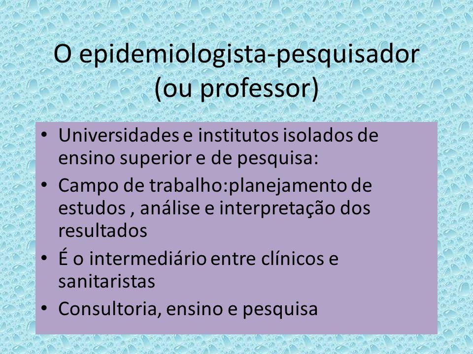 O epidemiologista-pesquisador (ou professor) Universidades e institutos isolados de ensino superior e de pesquisa: Campo de trabalho:planejamento de e