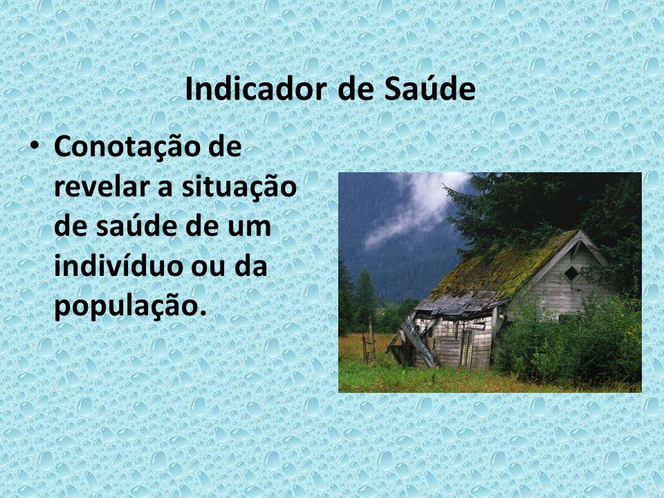 Indicador de Saúde Conotação de revelar a situação de saúde de um indivíduo ou da população.