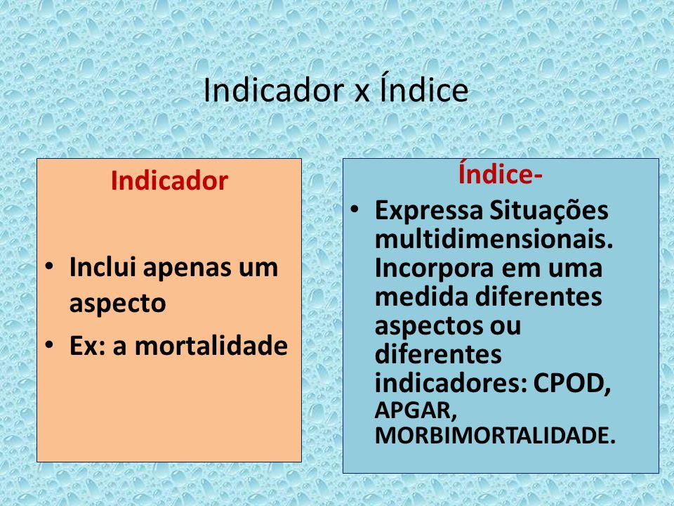 Indicador x Índice Indicador Inclui apenas um aspecto Ex: a mortalidade Índice- Expressa Situações multidimensionais. Incorpora em uma medida diferent