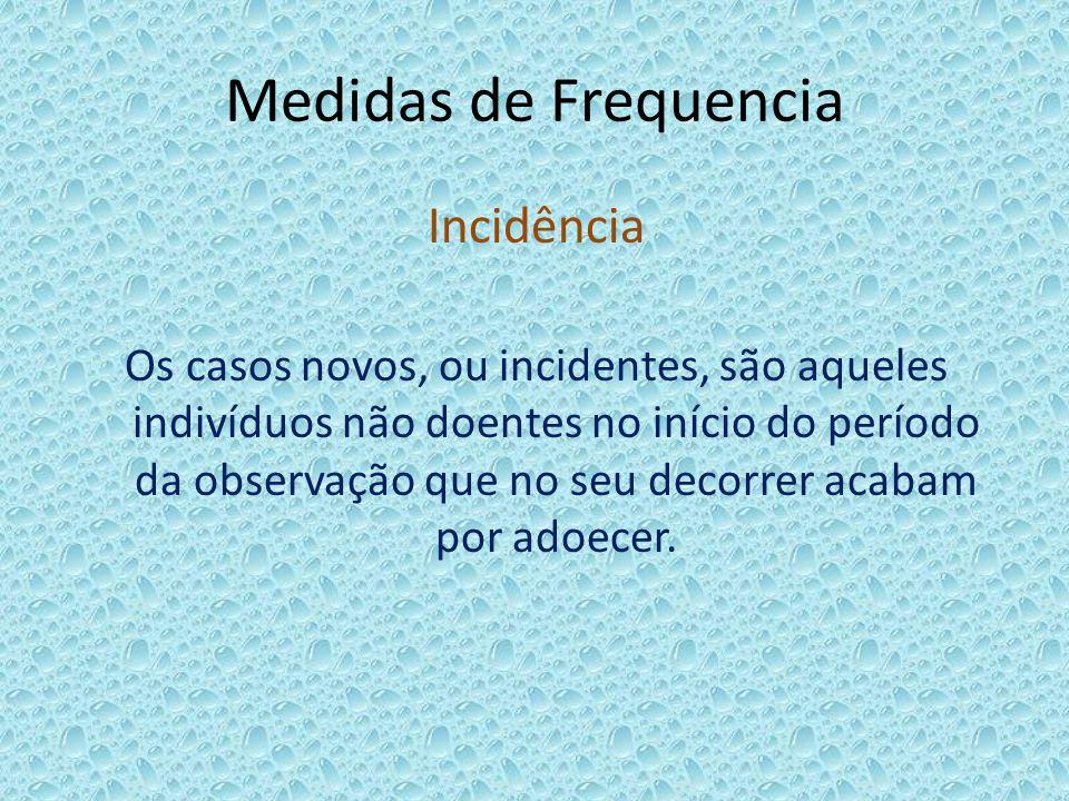 Medidas de Frequencia Incidência Os casos novos, ou incidentes, são aqueles indivíduos não doentes no início do período da observação que no seu decor