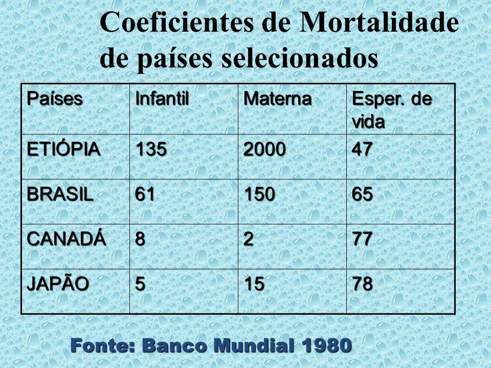 PaísesInfantilMaterna Esper. de vida ETIÓPIA135200047 BRASIL6115065 CANADÁ8277 JAPÃO51578 Fonte: Banco Mundial 1980 Coeficientes de Mortalidade de paí