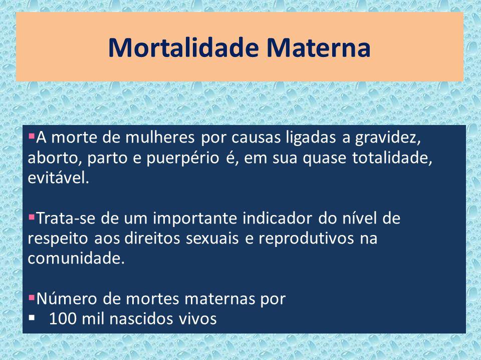 Mortalidade Materna A morte de mulheres por causas ligadas a gravidez, aborto, parto e puerpério é, em sua quase totalidade, evitável. Trata-se de um