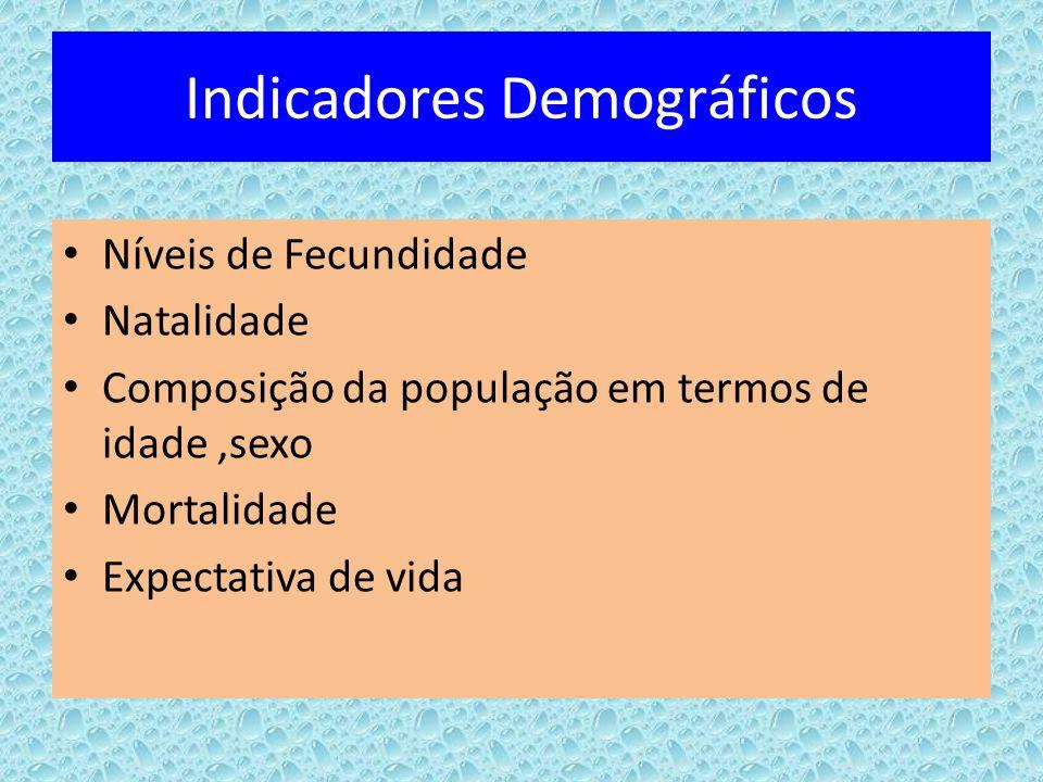 Indicadores Demográficos Níveis de Fecundidade Natalidade Composição da população em termos de idade,sexo Mortalidade Expectativa de vida