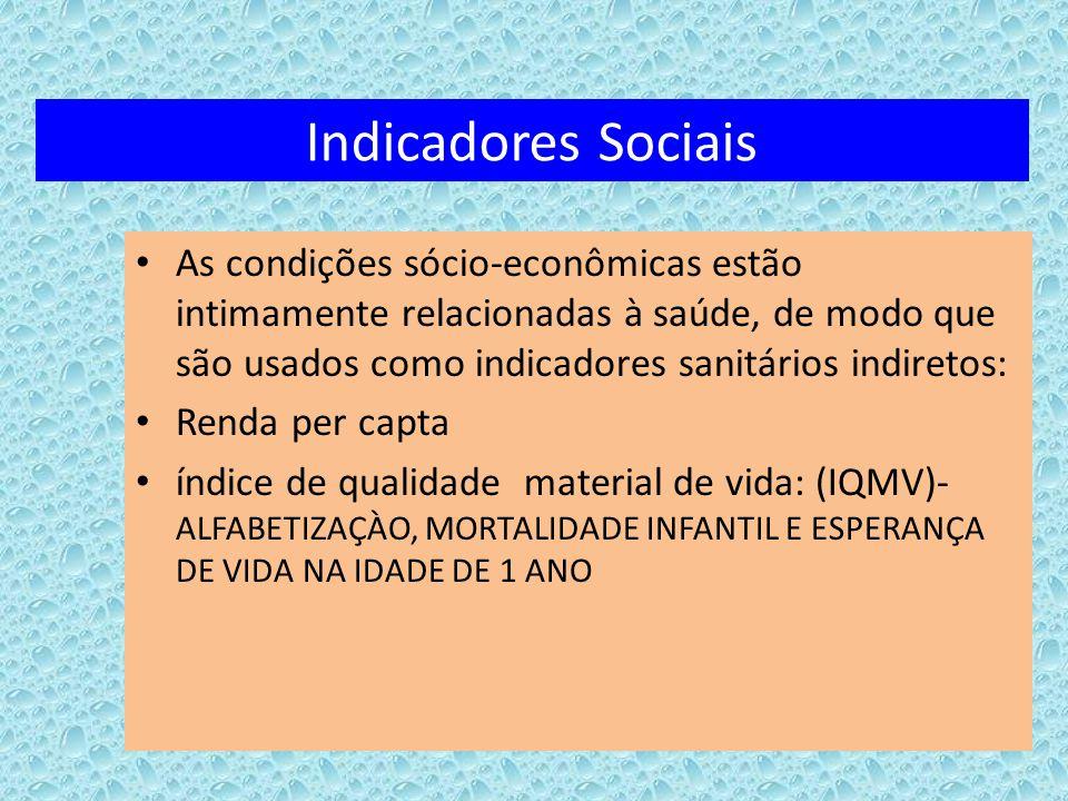 Indicadores Sociais As condições sócio-econômicas estão intimamente relacionadas à saúde, de modo que são usados como indicadores sanitários indiretos