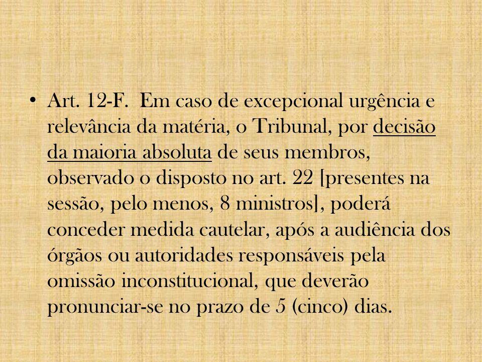 Art. 12-F. Em caso de excepcional urgência e relevância da matéria, o Tribunal, por decisão da maioria absoluta de seus membros, observado o disposto
