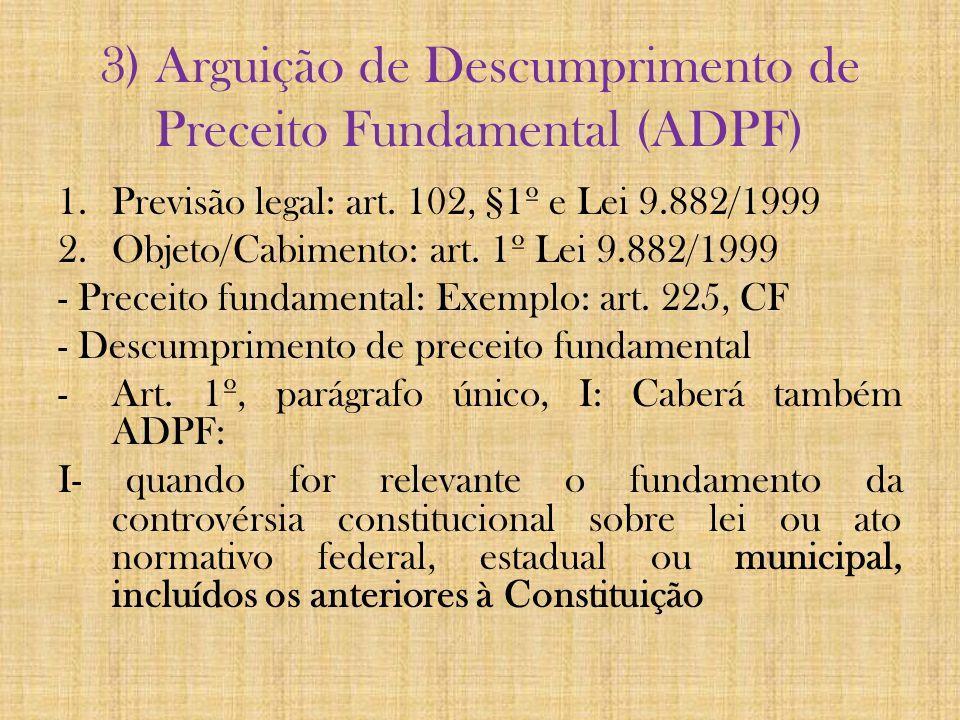 3) Arguição de Descumprimento de Preceito Fundamental (ADPF) 1.Previsão legal: art. 102, §1º e Lei 9.882/1999 2.Objeto/Cabimento: art. 1º Lei 9.882/19