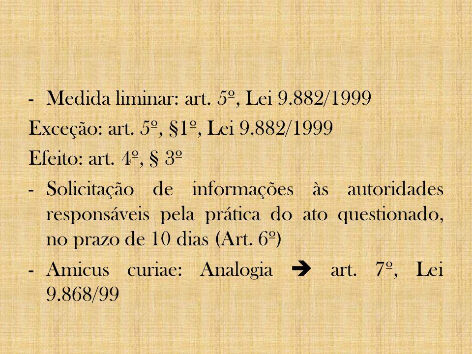 -Medida liminar: art. 5º, Lei 9.882/1999 Exceção: art. 5º, §1º, Lei 9.882/1999 Efeito: art. 4º, § 3º -Solicitação de informações às autoridades respon