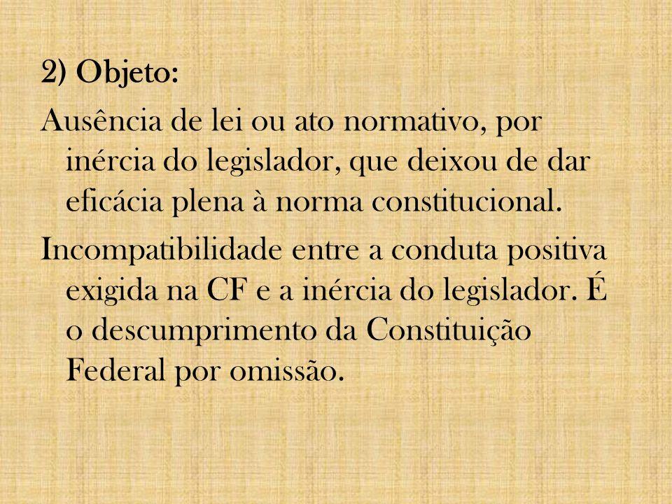 2) Objeto: Ausência de lei ou ato normativo, por inércia do legislador, que deixou de dar eficácia plena à norma constitucional. Incompatibilidade ent