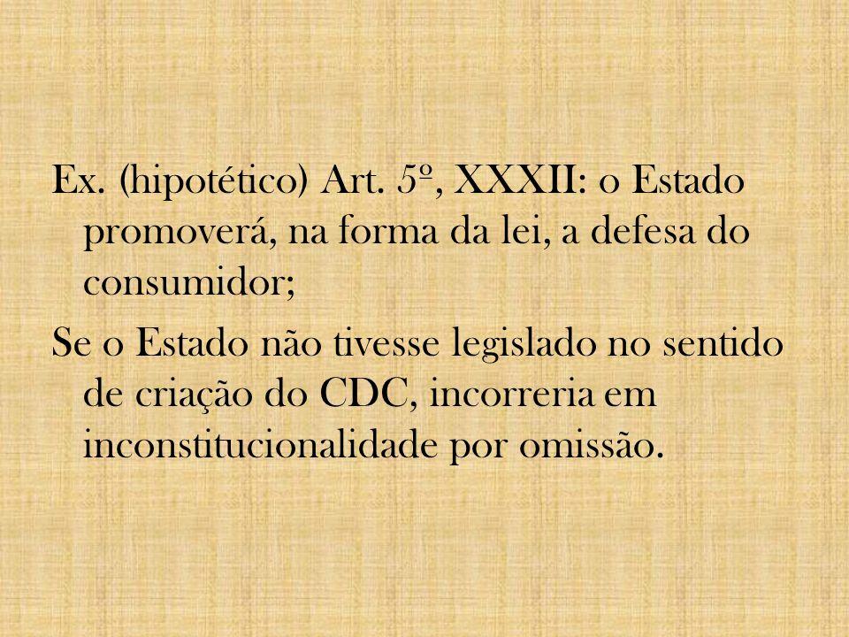 Ex. (hipotético) Art. 5º, XXXII: o Estado promoverá, na forma da lei, a defesa do consumidor; Se o Estado não tivesse legislado no sentido de criação