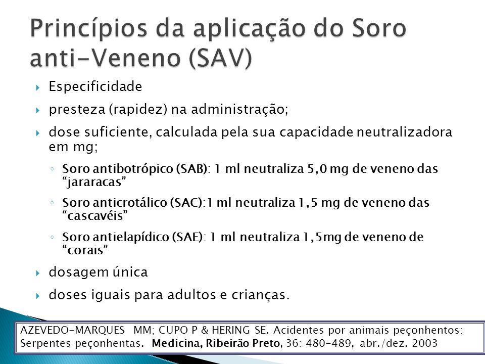 Especificidade presteza (rapidez) na administração; dose suficiente, calculada pela sua capacidade neutralizadora em mg; Soro antibotrópico (SAB): 1 ml neutraliza 5,0 mg de veneno das jararacas Soro anticrotálico (SAC):1 ml neutraliza 1,5 mg de veneno das cascavéis Soro antielapídico (SAE): 1 ml neutraliza 1,5mg de veneno de corais dosagem única doses iguais para adultos e crianças.