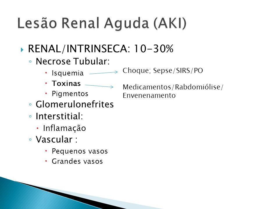 RENAL/INTRINSECA: 10-30% Necrose Tubular: Isquemia Toxinas Pigmentos Glomerulonefrites Interstitial: Inflamação Vascular : Pequenos vasos Grandes vasos Choque; Sepse/SIRS/PO Medicamentos/Rabdomiólise/ Envenenamento