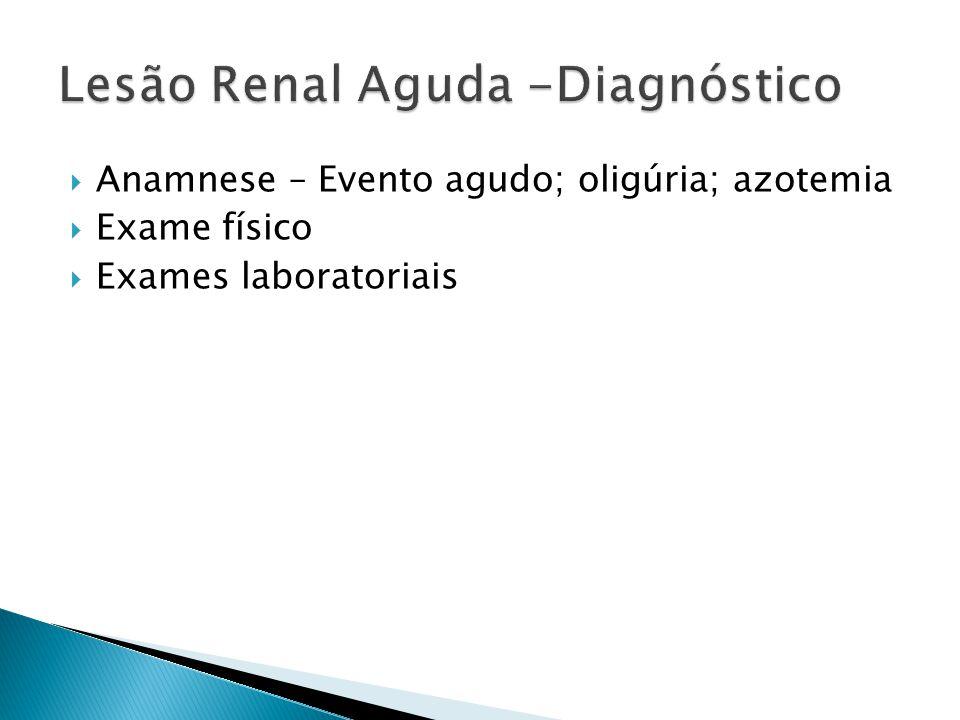 Anamnese – Evento agudo; oligúria; azotemia Exame físico Exames laboratoriais