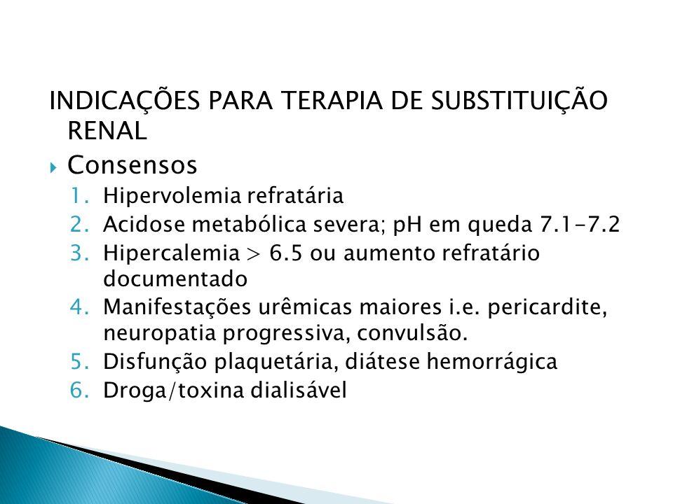 INDICAÇÕES PARA TERAPIA DE SUBSTITUIÇÃO RENAL Consensos 1.Hipervolemia refratária 2.Acidose metabólica severa; pH em queda 7.1-7.2 3.Hipercalemia > 6.5 ou aumento refratário documentado 4.Manifestações urêmicas maiores i.e.