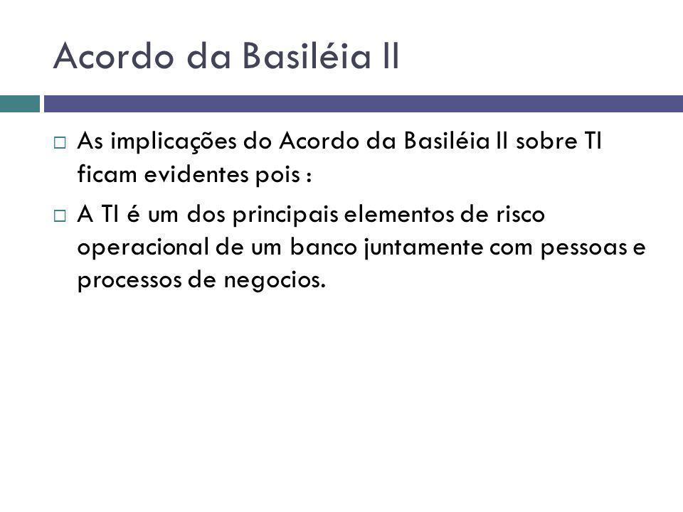 Acordo da Basiléia II As implicações do Acordo da Basiléia II sobre TI ficam evidentes pois : A TI é um dos principais elementos de risco operacional