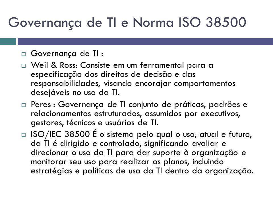 Governança de TI e Norma ISO 38500 Governança de TI : Weil & Ross: Consiste em um ferramental para a especificação dos direitos de decisão e das respo