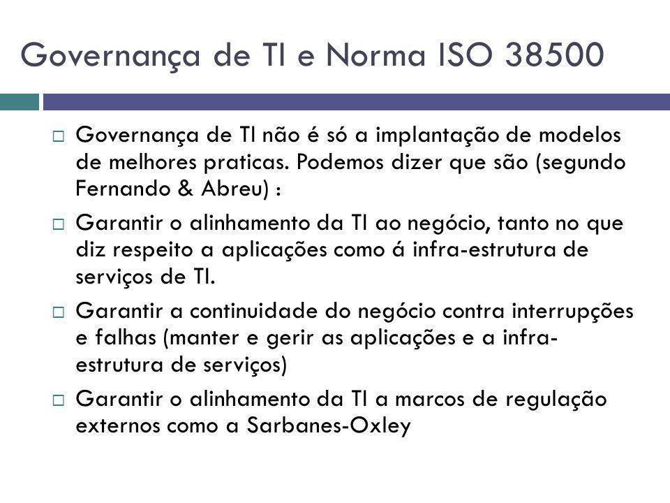 Governança de TI e Norma ISO 38500 Governança de TI não é só a implantação de modelos de melhores praticas. Podemos dizer que são (segundo Fernando &