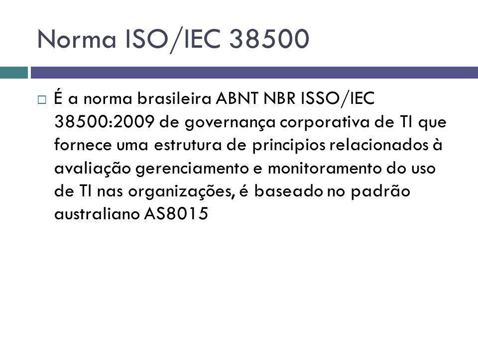 Norma ISO/IEC 38500 É a norma brasileira ABNT NBR ISSO/IEC 38500:2009 de governança corporativa de TI que fornece uma estrutura de principios relacion
