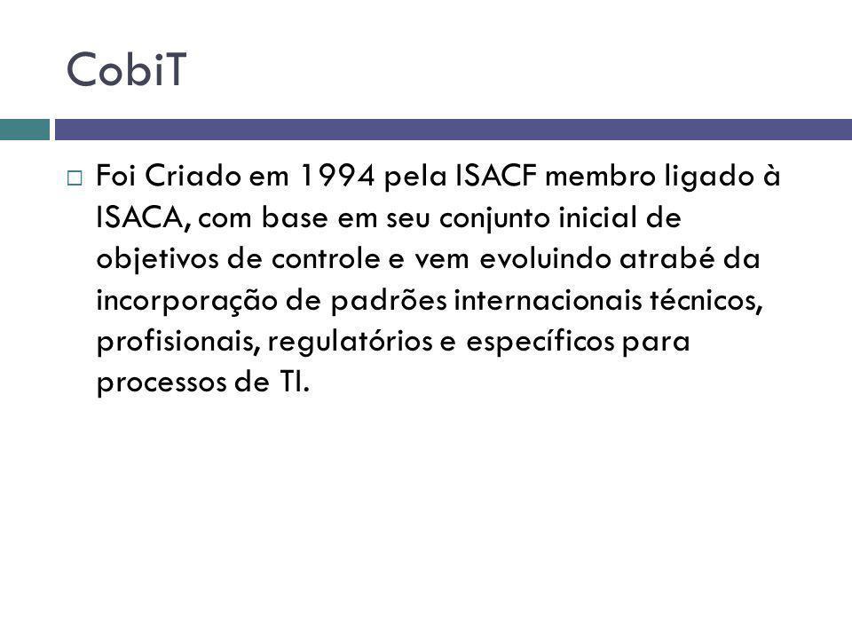CobiT Foi Criado em 1994 pela ISACF membro ligado à ISACA, com base em seu conjunto inicial de objetivos de controle e vem evoluindo atrabé da incorpo