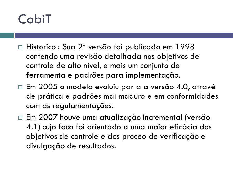 CobiT Historico : Sua 2ª versão foi publicada em 1998 contendo uma revisão detalhada nos objetivos de controle de alto nivel, e mais um conjunto de fe