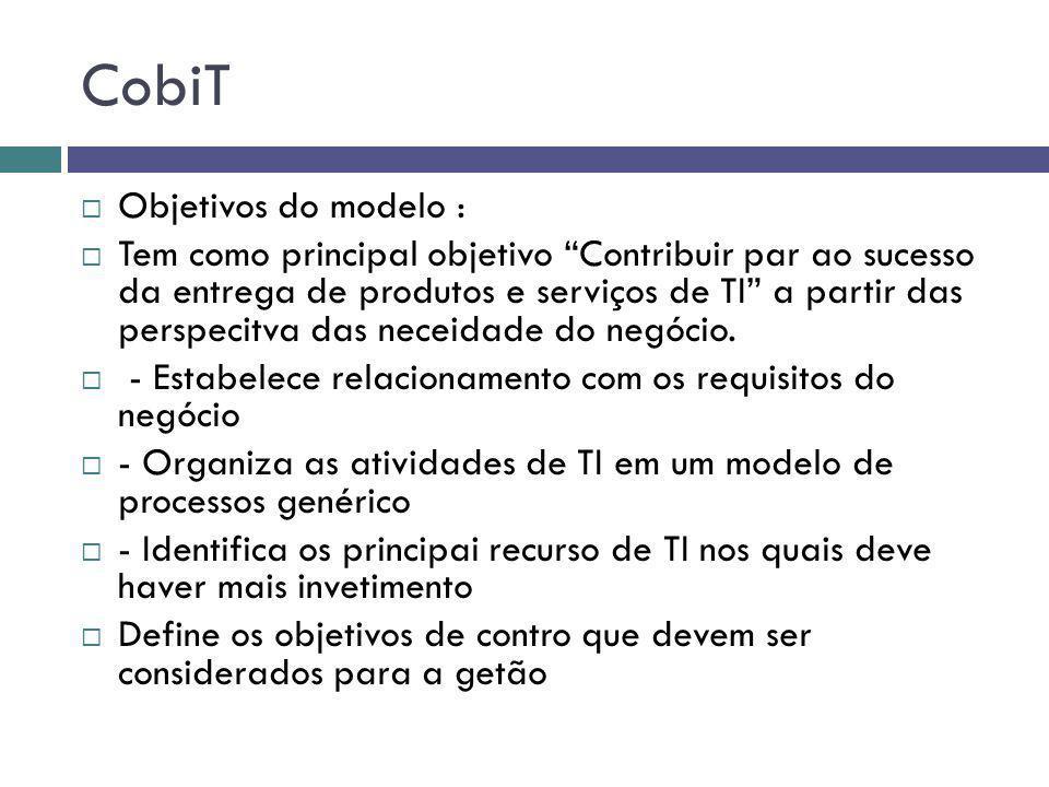CobiT Objetivos do modelo : Tem como principal objetivo Contribuir par ao sucesso da entrega de produtos e serviços de TI a partir das perspecitva das