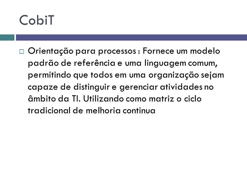 CobiT Orientação para processos : Fornece um modelo padrão de referência e uma linguagem comum, permitindo que todos em uma organização sejam capaze d