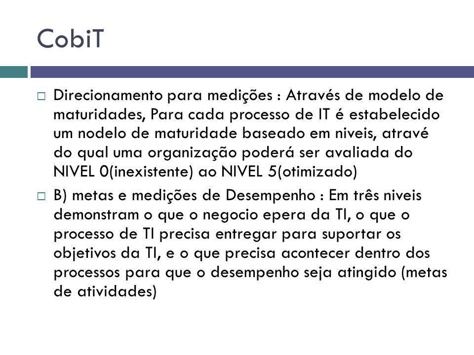 CobiT Direcionamento para medições : Através de modelo de maturidades, Para cada processo de IT é estabelecido um nodelo de maturidade baseado em nive