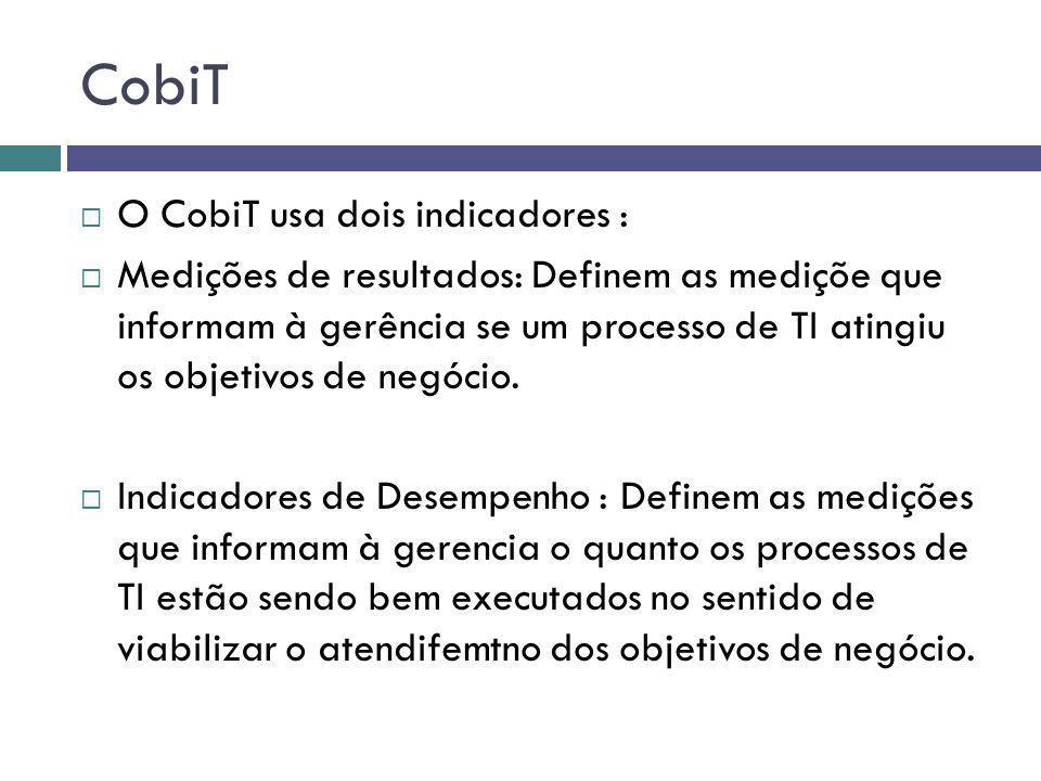 CobiT O CobiT usa dois indicadores : Medições de resultados: Definem as mediçõe que informam à gerência se um processo de TI atingiu os objetivos de n
