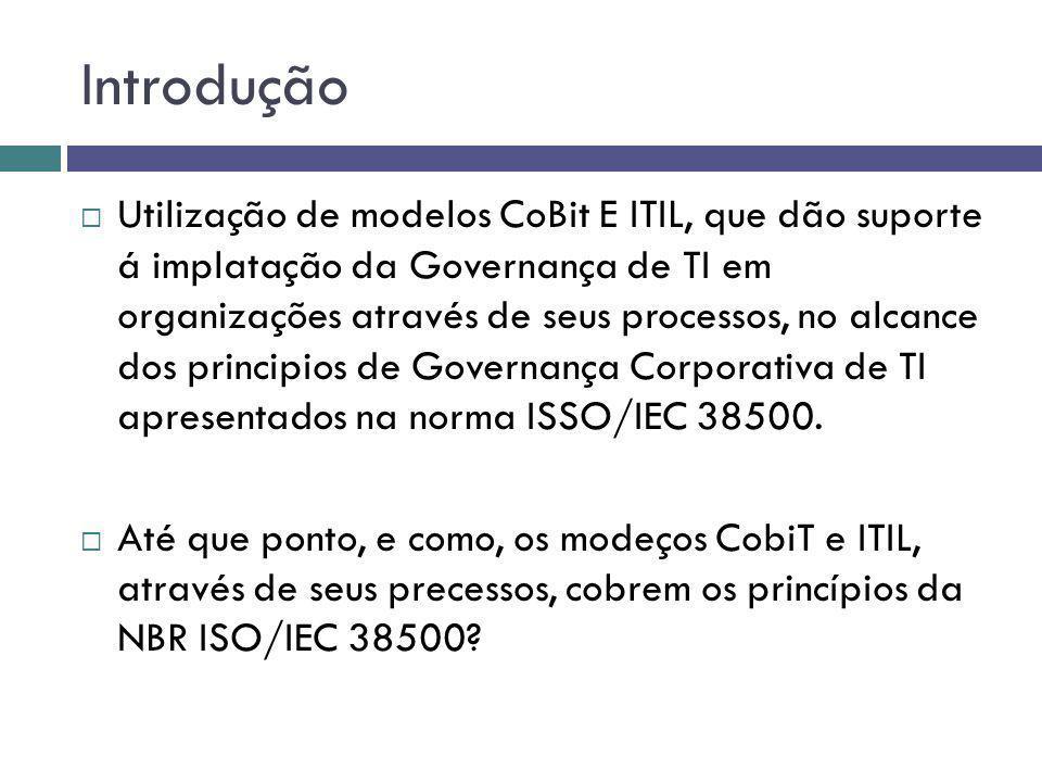 Introdução Utilização de modelos CoBit E ITIL, que dão suporte á implatação da Governança de TI em organizações através de seus processos, no alcance