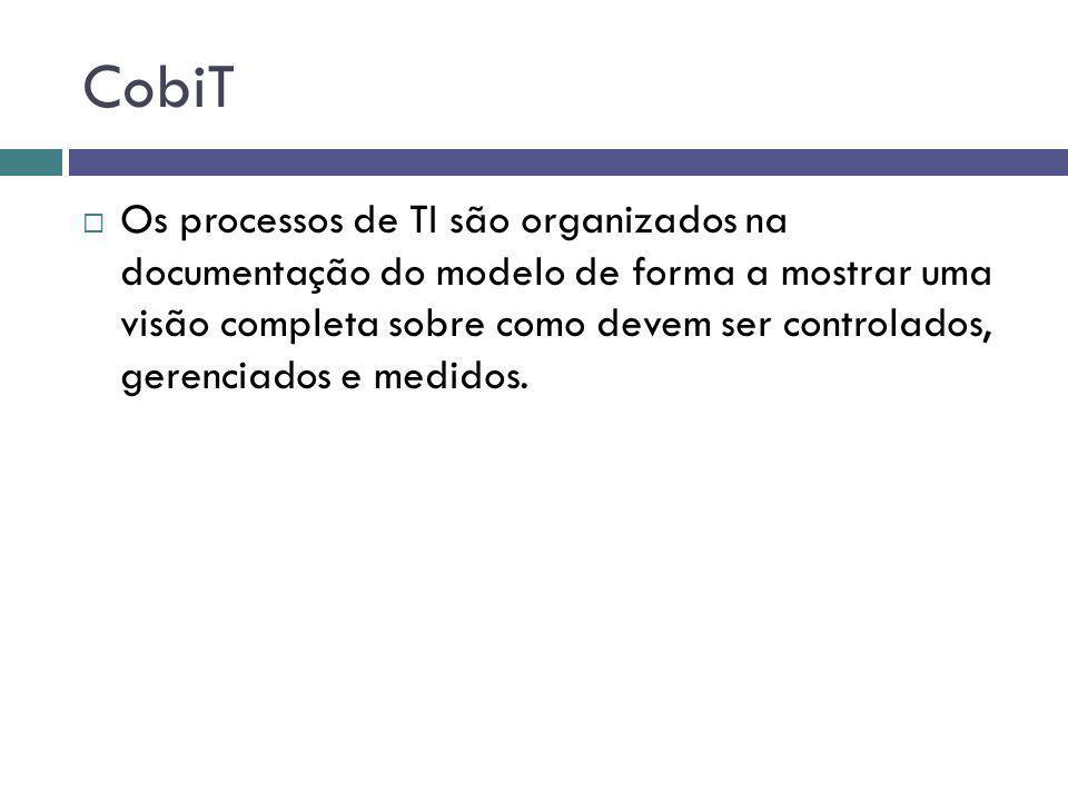 CobiT Os processos de TI são organizados na documentação do modelo de forma a mostrar uma visão completa sobre como devem ser controlados, gerenciados