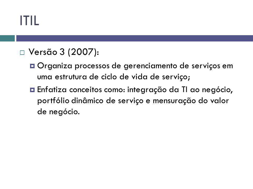 ITIL Versão 3 (2007): Organiza processos de gerenciamento de serviços em uma estrutura de ciclo de vida de serviço; Enfatiza conceitos como: integraçã