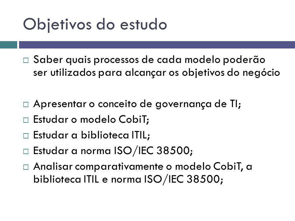Objetivos do estudo Saber quais processos de cada modelo poderão ser utilizados para alcançar os objetivos do negócio Apresentar o conceito de governa