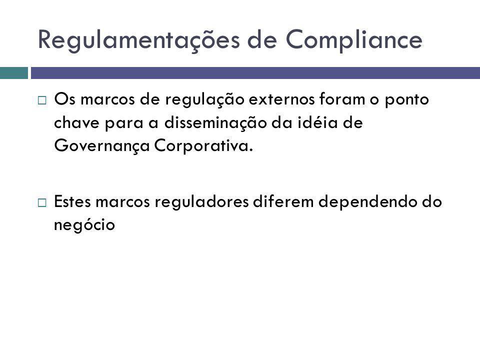 Regulamentações de Compliance Os marcos de regulação externos foram o ponto chave para a disseminação da idéia de Governança Corporativa. Estes marcos