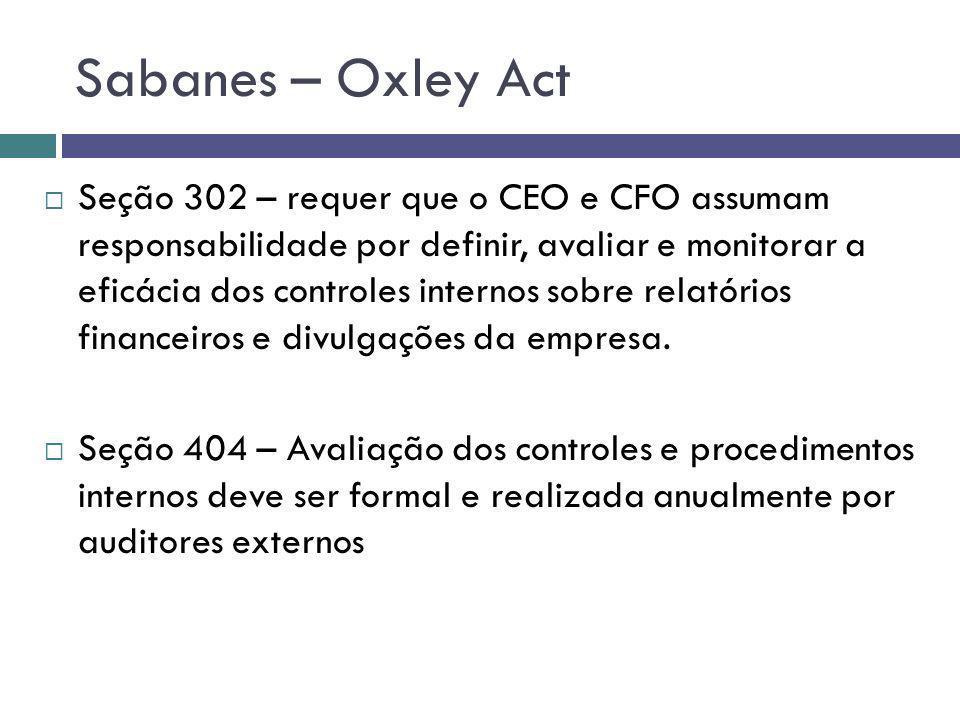 Sabanes – Oxley Act Seção 302 – requer que o CEO e CFO assumam responsabilidade por definir, avaliar e monitorar a eficácia dos controles internos sob