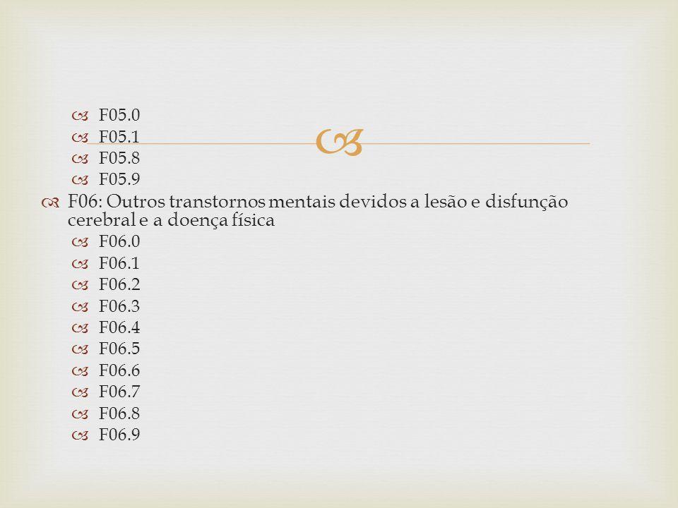 F05.0 F05.1 F05.8 F05.9 F06: Outros transtornos mentais devidos a lesão e disfunção cerebral e a doença física F06.0 F06.1 F06.2 F06.3 F06.4 F06.5 F06.6 F06.7 F06.8 F06.9