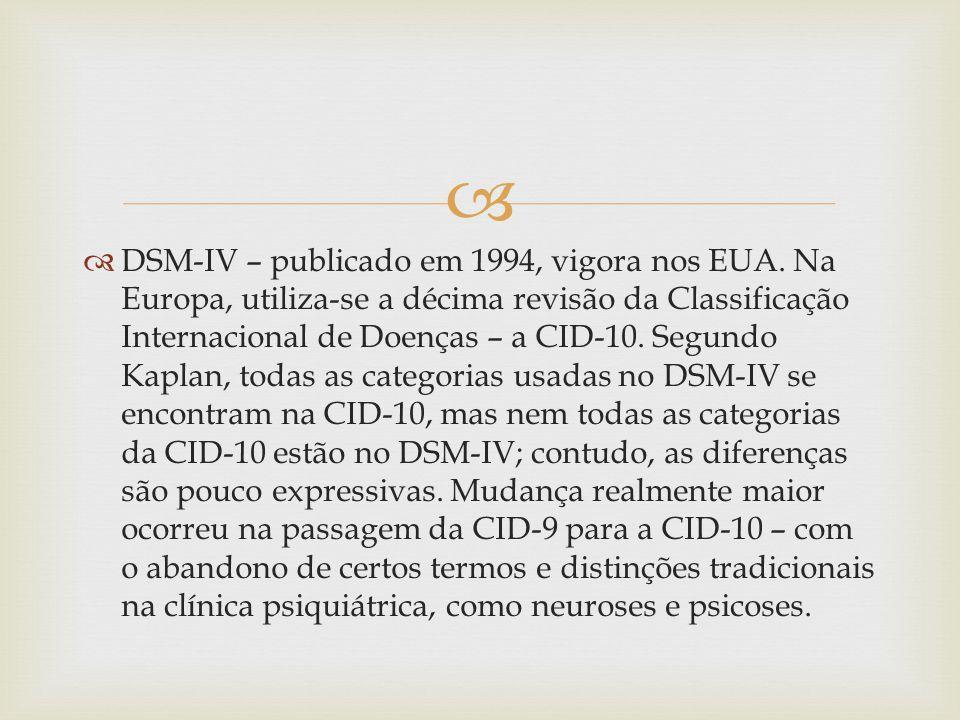 DSM-IV – publicado em 1994, vigora nos EUA.