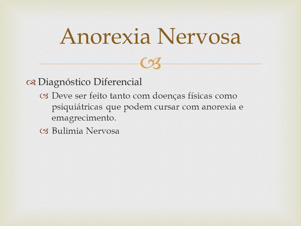 Diagnóstico Diferencial Deve ser feito tanto com doenças físicas como psiquiátricas que podem cursar com anorexia e emagrecimento.