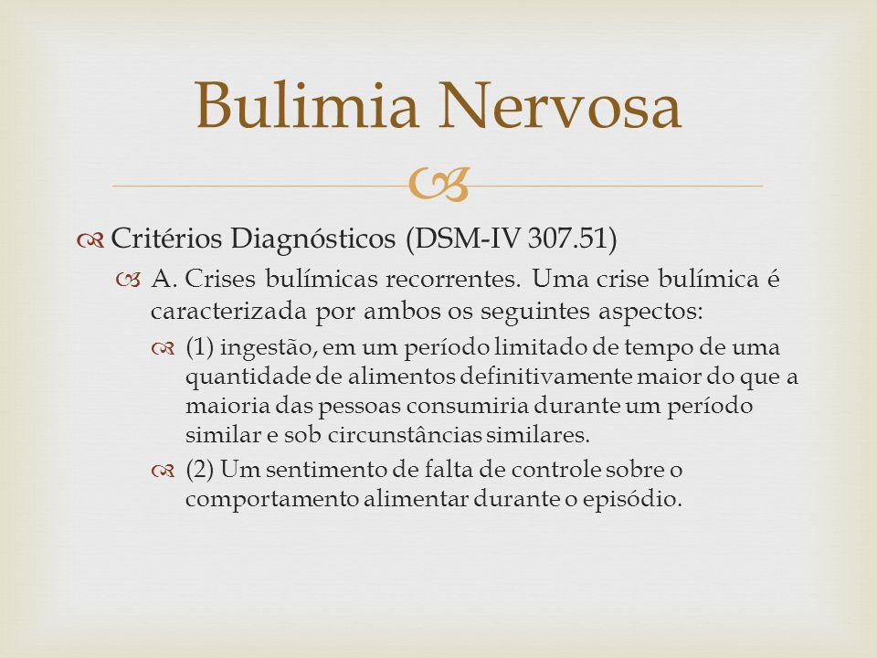 Critérios Diagnósticos (DSM-IV 307.51) A.Crises bulímicas recorrentes.