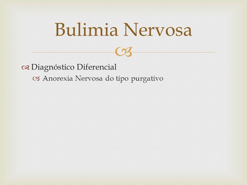 Diagnóstico Diferencial Anorexia Nervosa do tipo purgativo Bulimia Nervosa