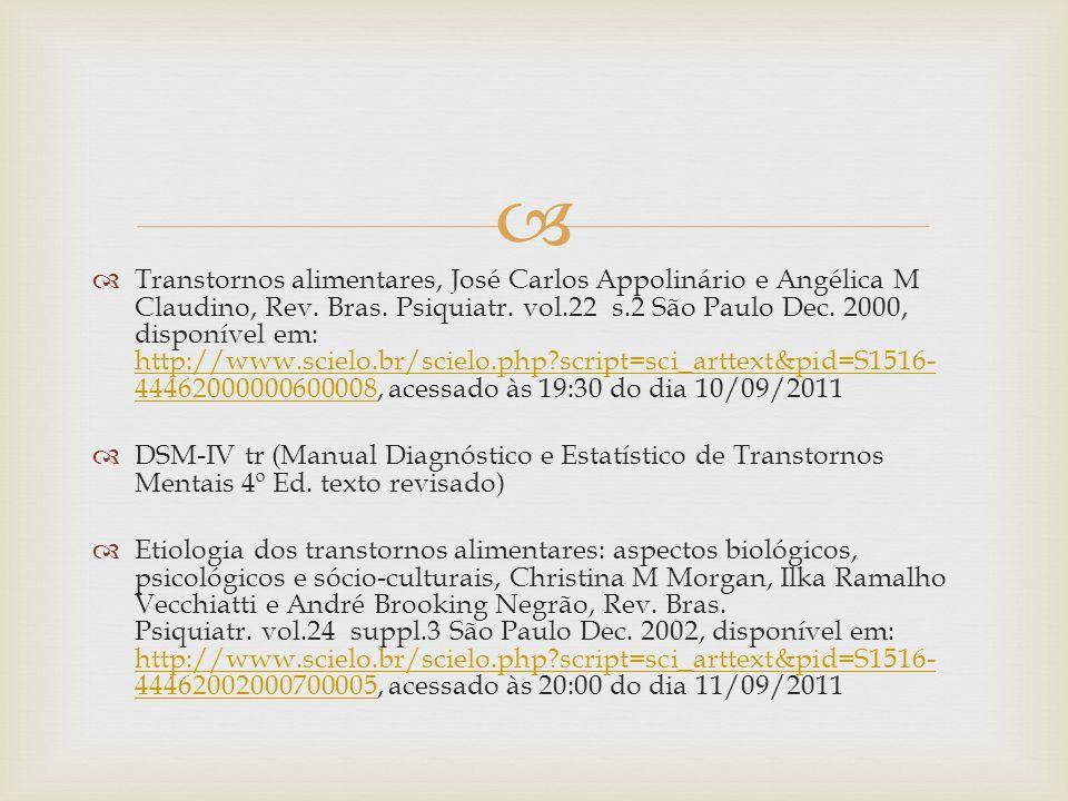 Transtornos alimentares, José Carlos Appolinário e Angélica M Claudino, Rev.