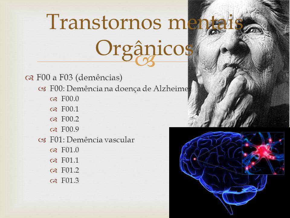 F01.8 F01.9 F02: Demência em outras doenças classificadas em outra parte. F02.0 F02.1 F02.3 F02.4