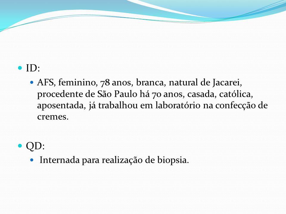 ID: AFS, feminino, 78 anos, branca, natural de Jacarei, procedente de São Paulo há 70 anos, casada, católica, aposentada, já trabalhou em laboratório