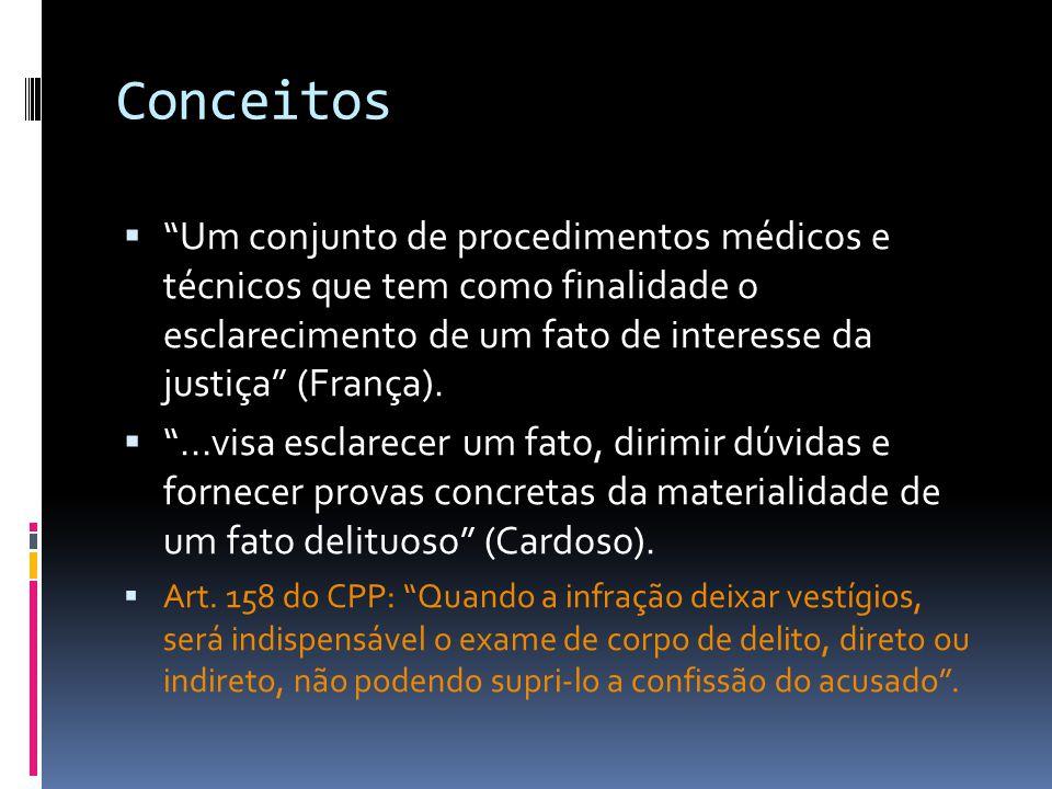 Conceitos Um conjunto de procedimentos médicos e técnicos que tem como finalidade o esclarecimento de um fato de interesse da justiça (França)....visa