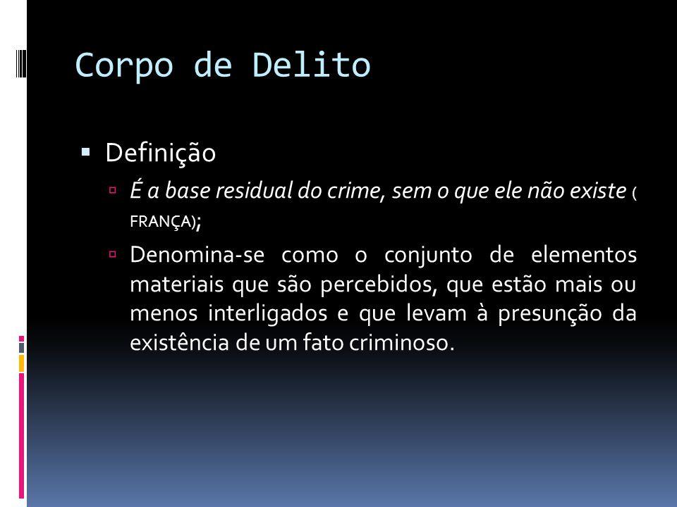 Corpo de Delito Definição É a base residual do crime, sem o que ele não existe ( FRANÇA) ; Denomina-se como o conjunto de elementos materiais que são