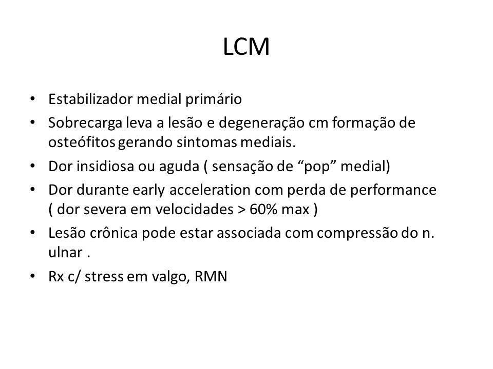 LCM Estabilizador medial primário Sobrecarga leva a lesão e degeneração cm formação de osteófitos gerando sintomas mediais. Dor insidiosa ou aguda ( s