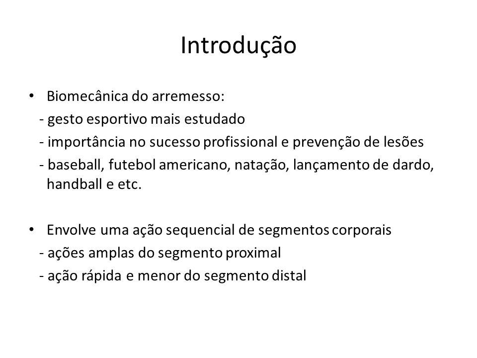 Introdução Biomecânica do arremesso: - gesto esportivo mais estudado - importância no sucesso profissional e prevenção de lesões - baseball, futebol a
