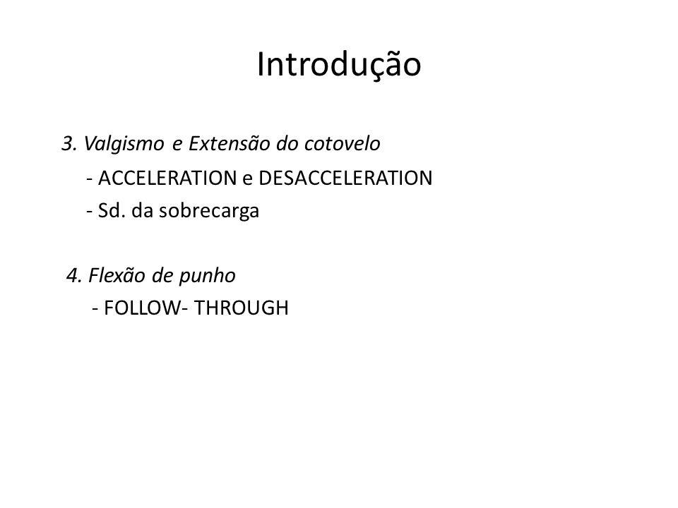 Introdução 3. Valgismo e Extensão do cotovelo - ACCELERATION e DESACCELERATION - Sd. da sobrecarga 4. Flexão de punho - FOLLOW- THROUGH