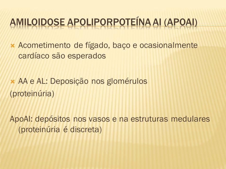 Acometimento de fígado, baço e ocasionalmente cardíaco são esperados AA e AL: Deposição nos glomérulos (proteinúria) ApoAI: depósitos nos vasos e na e