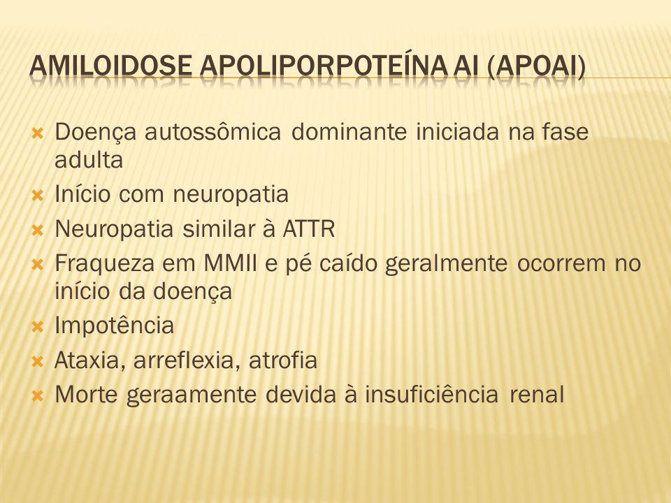 Doença autossômica dominante iniciada na fase adulta Início com neuropatia Neuropatia similar à ATTR Fraqueza em MMII e pé caído geralmente ocorrem no